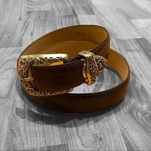 Brighton brown leather belt silver hardware buckle